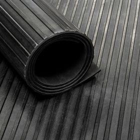 Rubber loper / rubbermat op rol streep 3mm - Breedte 100 cm