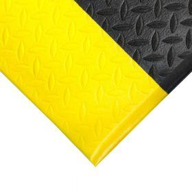 Ergonomische werkplaatsmat op rol Diamant - Anti vermoeidheidsmat - Met gele rand - Breedte 90 cm