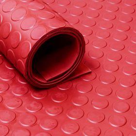 Rubber loper / rubbermat op rol Noppen 3mm rood - Breedte 100 cm - Geurloos