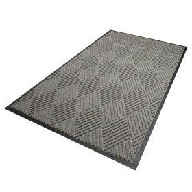 Waterhog Diamond droogloopmat / schoonloopmat 180x250 cm - Rubber border - Grijs