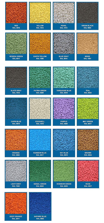 RAL kleuren rubber tegels